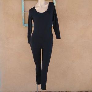 1990s Black Bodysuit Workout Catsuit Sz M L